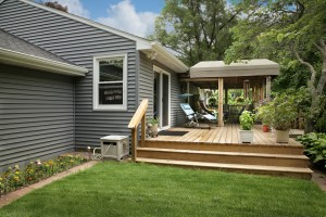 beautifully renovated yard and deck by Premier Building & Remodeling